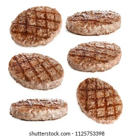 grilled hamburger patty isolated on white