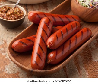 Grilled Hot Dogs, overhead