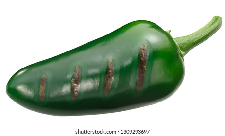 Grilled Jalapeno chili pepper, whole green pod