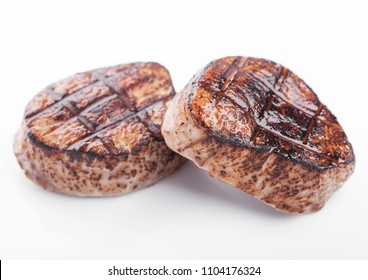Grilled juicy beef pork steak slice on white background