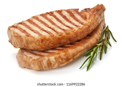 Grilled juicy pork steak, isolated on white background