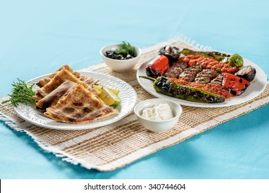 Grilled Kabab and Arabic bread filled with meat