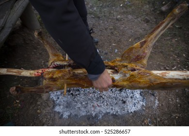 Grilled lamb appetizing appetizer. . The frying grill is made from a ram, lamb or sheep. Street meals ..