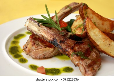 Grilled Lamb Chops with Potato Wedges