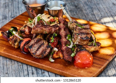 grilled lamb chops served outdoors