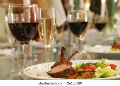 grilled lamb chops, vegetables and vine