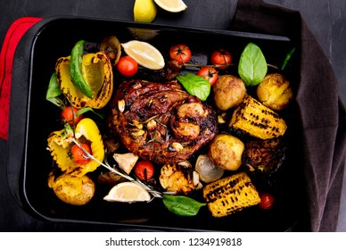 Grilled lamb with vegetables