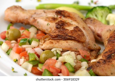 Grilled leg of chicken with vegetable