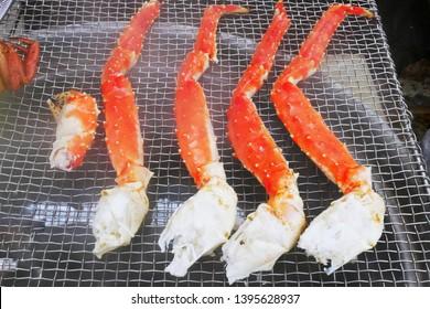 Grilled Leg Taraba King Crab at morning market in Hokkaido,Japan