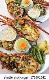 grilled lobster, Caribbean and West African traditional dish, Martinique