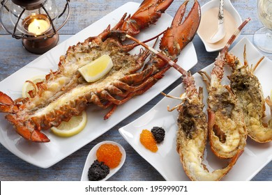 grilled lobster with seafood sauce and caviar