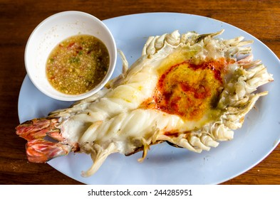 Grilled lobster with seafood spicy sauce