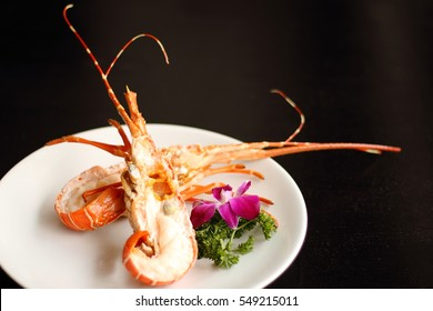 Grilled Lobster Tails on white plate