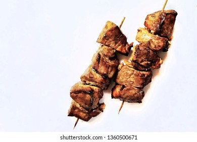 Grilled Meat isolated over White.
