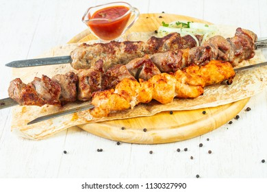 Grilled meat kebab mix plate assortment