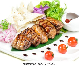 grilled meat with lavash