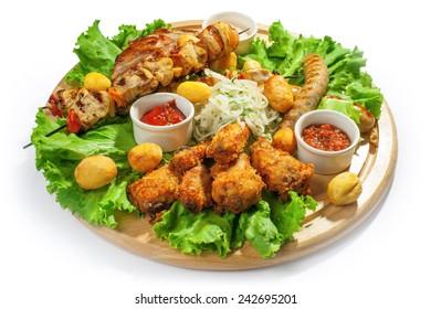 Grilled meat on sticks served food studio shot for menu and design works