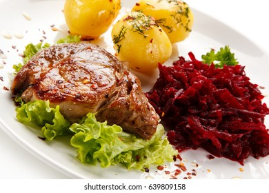 Grilled meat with potatoes