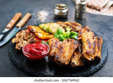 grilled meat, meat with sauce, stock photo