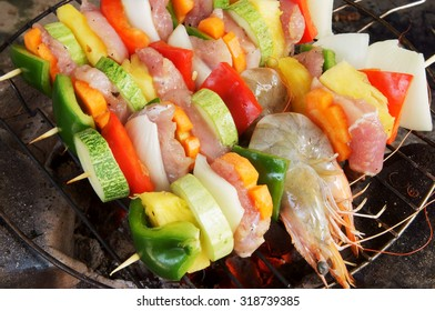 Grilled meat, shrimps and vegetables, barbecue grill food