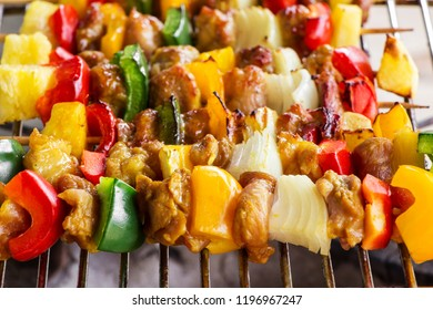 grilled meat with vegetable for family bbq party