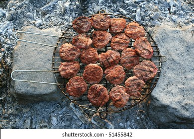 grilled meatballs with close-up