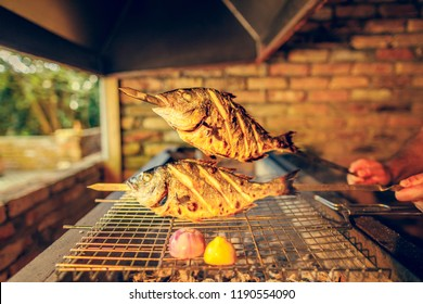 grilled Mediterranean fish on skewers and mesh for frying. dorado fish from the Mediterranean sea