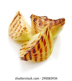 grilled onion pieces isolated on white background