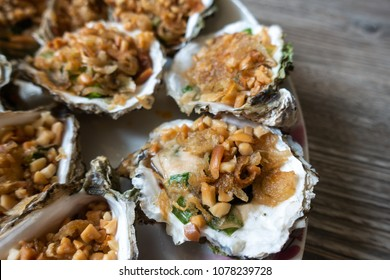 Grilled Oysters With oil green onion, roasted peanut