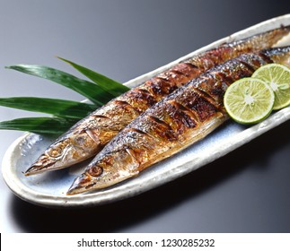 Grilled pacific saury fish with salt