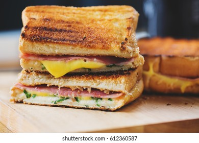 grilled panini ham cheese sandwich with melt cheese stuff