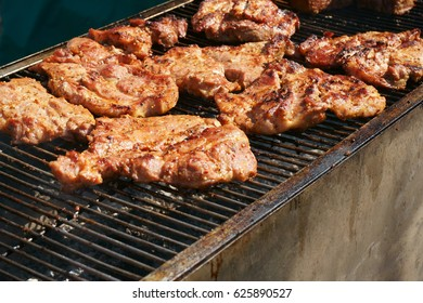 grilled pig meat as nice food background