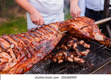 Grilled pig traditional on coal and fire