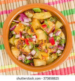 Grilled Pineapple Salsa - Mexican style salad with grilled pineapple, tomatoes, onions, peppers, coriander and chillies.