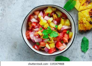Grilled Pineapple Tomato Salsa or Salad overhead view