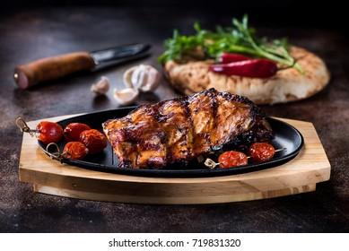 Grilled pork BBQ ribs