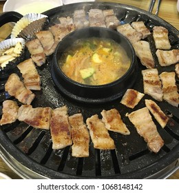 Grilled Pork Belly and bean paste stew