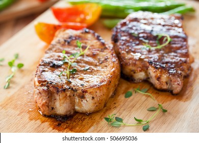 grilled pork chops with vegetable