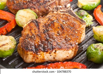 grilled pork chops with vegetables
