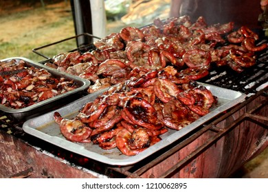 Grilled pork fillet, Street food in Thailand