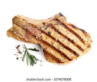 grilled pork isolated on white background