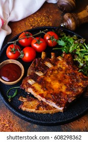 Grilled pork ribs. Copy space