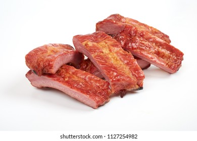 Grilled pork ribs isolated on white background