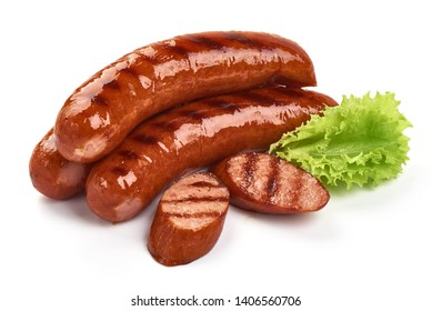 Grilled pork sausages with lettuce, close-up, isolated on white background.