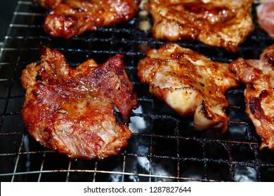 Grilled pork, Grilled pork shoulder, Cooking camp