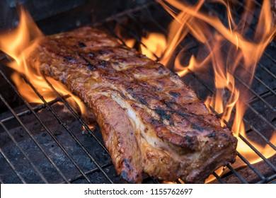 Grilled pork. spareribs
