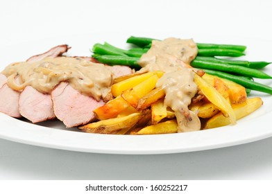grilled pork tenderloin with french fries, bans and a rich mushroom sauce