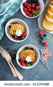Grilled pound cake with fresh berries for an outdoor summer party on 4th of July