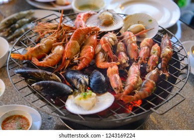 grilled prawns on grill