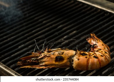 Grilled prawns on the grill. Shallow dof.